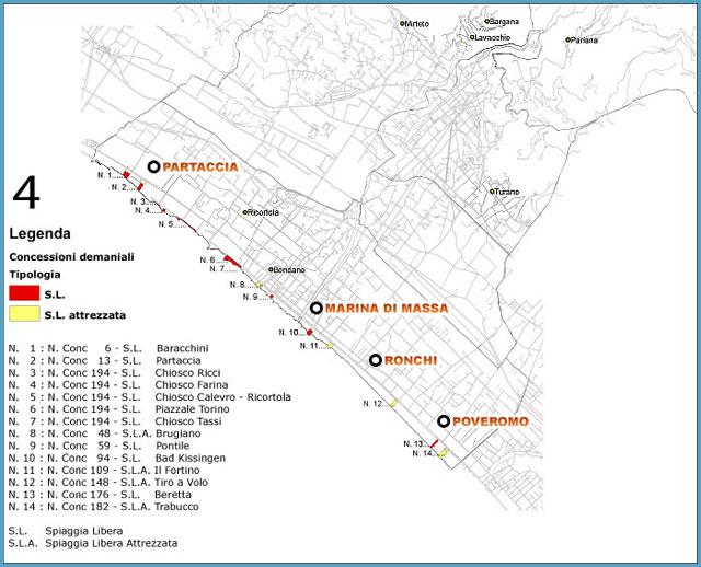 Mappa Spiagge libere Marina di Massa - La Partaccia